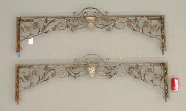 Wrought Iron Cornice : Pair french wrought iron window valances lot