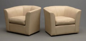 Pair Crate & Barrel Swivel Chairs