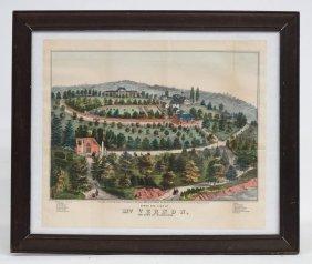"19th C. Print ""birds Eye View Of Mt. Vernon"""