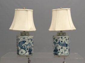 Pair Asian Pottery Lamps