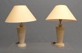Pair Stone Lamps