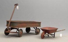 Child's Wagon & Wheelbarrow