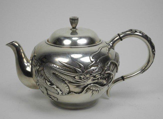 1090a Japanese Silver Dragon Teapot Lot 1090a
