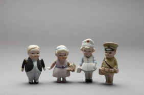 FOUR NIPPON BISQUE MINIATURE DOLLS