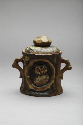 EARLY NORITAKE MOULDED OWL HUMIDOR