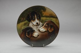 EARLY NORITAKE MOULDED THREE DOG PLAQUE