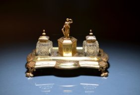 VICTORIAN SILVER GILT DOUBLE INKSTAND