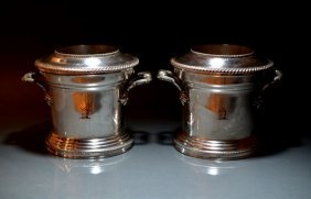 PAIR OF SHEFFIELD PLATE WINE COOLERS