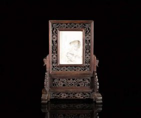 Chinese Hardwood & Ivory Table Screen