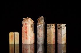 Six Soapstone & Shoushan Carved Seals