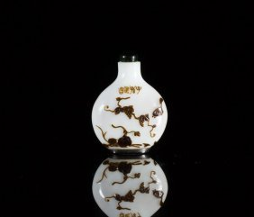 Brown Overlay Opaque White Glass Snuff Bottle