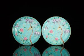 Pair Of Famille Rose Porcelain Plates