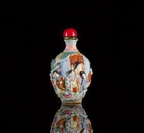 Famille Rose Molded Porcelain Snuff Bottle