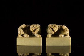 A Pair Of Chinese Soapstone Chop Seals