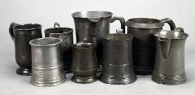 Five Assorted Pewter Tankards, 19th Century, Inclu
