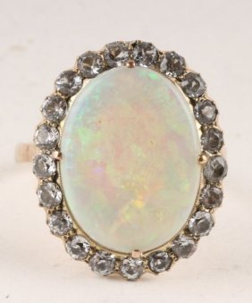 An Opal And White Sapphire Cluster Ring, The Large
