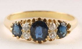 A Sapphire And Diamond Ring, Stamped '18ct', Circa