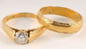A Single Stone 22 Carat Gold Dress Ring, With Engr