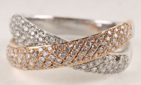 A Diamond 18 Carat Two Colour Gold Dress Ring, Des