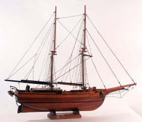 "Varnished Model Of The American Brig ""Harmony""."