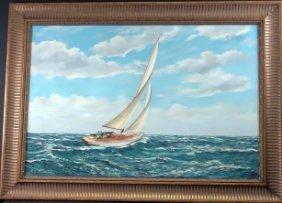Yacht Painting By MG Friedrich (b. 1932)