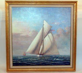"""America's Cup Yacht """"Columbia"""" Oil"""