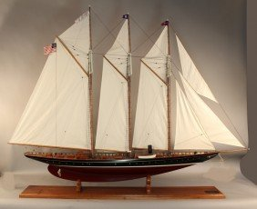 Large Model Of The Schooner Yacht Atlantic