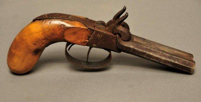 225 double barrel ball and cap pistol c 1840 lot 225