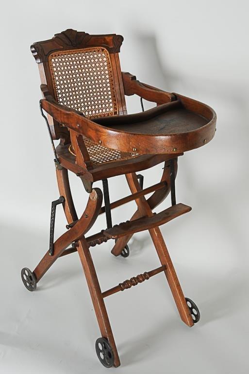 Walnut High Chair Stroller Combination Carved Walnut