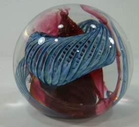 Paperweight - Blue Lattice Swirl