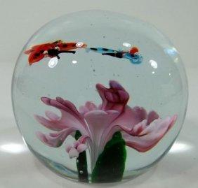 Paperweight - Lavender Flower W/ Butterflies