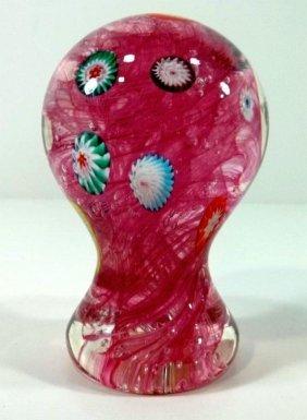 Paperweight -Pink Pedestal & Millefiori