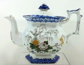 Multi-Colored Transferware Tea Pot