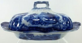 Flow Blue Staffordshire Covered Vegetable Dish