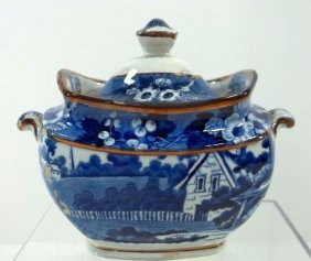 Blue Transfer  Staffordshire Sugar Bowl