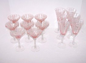 Pink Etched Glass Stemware