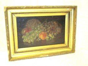19th Century Fruit Still Life Oil On Canvas