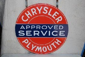 Chrysler Plymouth Approved Service DSP Sign,  30 In