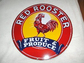 "Red Rooster ""Fruit & Produce"" SSP Sign 20 Inch,"