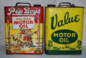 361 Value Pep Boys Motor Oil Two Gallon Metal Cans
