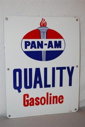 Pan-Am Quality Gasoline With Logo, PPP Sign, 17x13