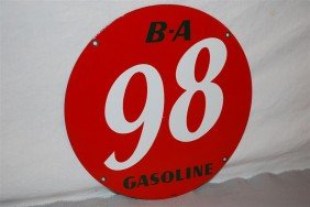 B-A 98 Gasoline PPP Sign, 10 Inch,