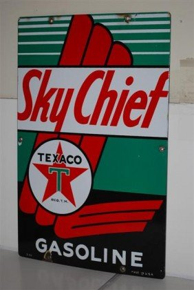 Texaco (white-T) Sky Chief Gasoline PPP Sign, 18x12