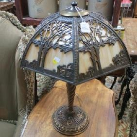 Vintage Slag Glass Table Lamp With Scenic Overlay: