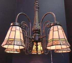 Five Arm Chandelier With Mission Style Glass Shades: