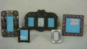 Five Vintage Miniature Enamel & Metal Frames: