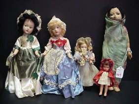 5 Vintage Foreign And American Dolls: