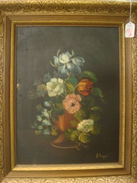 170b Signed L Ruggeri Floral Still Life Oil On Canvas
