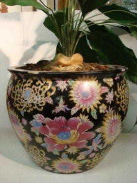 Oriental Ceramic Hand Painted Floral Koi Bowl: