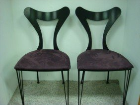 Pair Of Contemporary Wrought Iron Upholstered Chair